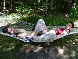 Ali and Lor in hammock at Lake George